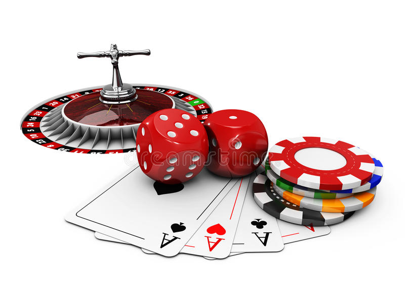 3d Illustration of Casino background with dice, cards, roulette and chips. Casino background with dice, cards, roulette and chips. 3d Illustration royalty free illustration