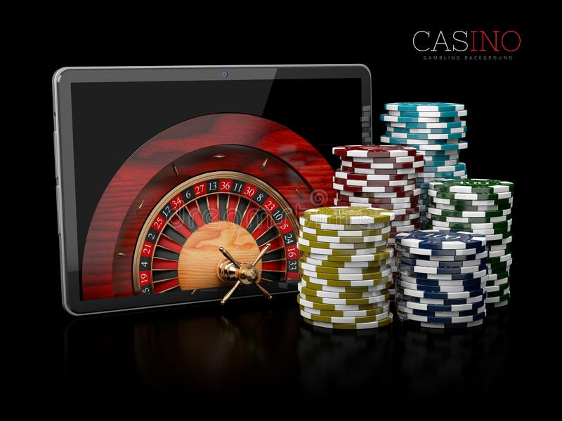3d Illustration of Casino background with tablet, roulette and chips. stock illustration