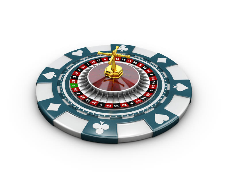 3d Illustration of casino chips and roulette, isolated on white. 3d Illustration of casino chips and roulette. isolated on white royalty free illustration