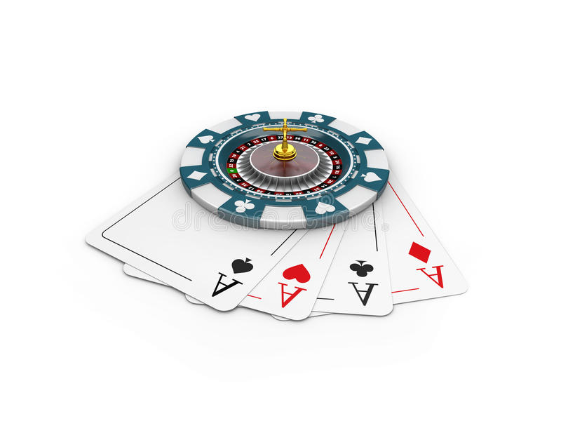 3d Illustration of casino chips and roulette on the play cards, isolated white. 3d Illustration of casino chips and roulette on the play cards. isolated white stock illustration
