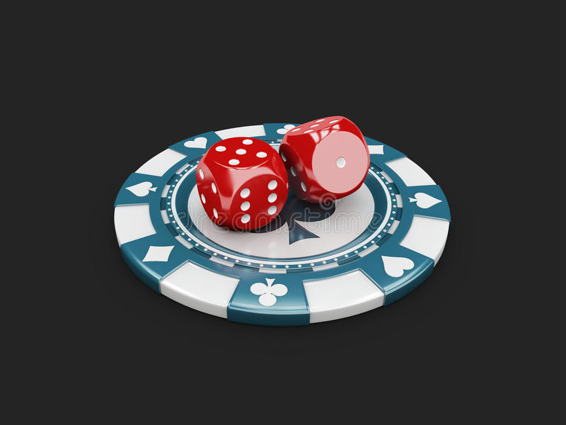 3d Illustration of Casino Concept, Dice and chips game lucky. 3d Illustration of Casino Concept. Dice and chips game lucky stock illustration