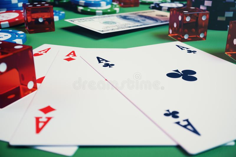3D illustration casino game. Chips, playing cards for poker. Poker chips, red dice and money on green table. Online. Casino concept vector illustration