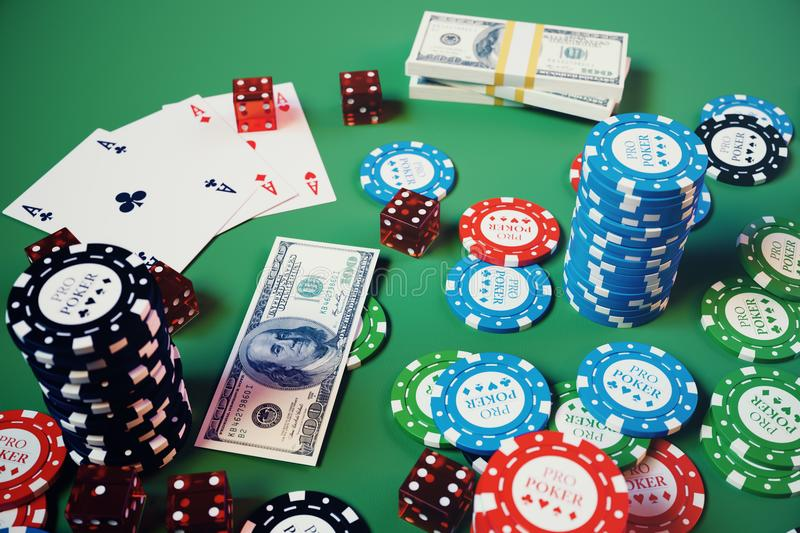 3D illustration casino game. Chips, playing cards for poker. Poker chips, red dice and money on green table. Online. Casino concept royalty free illustration