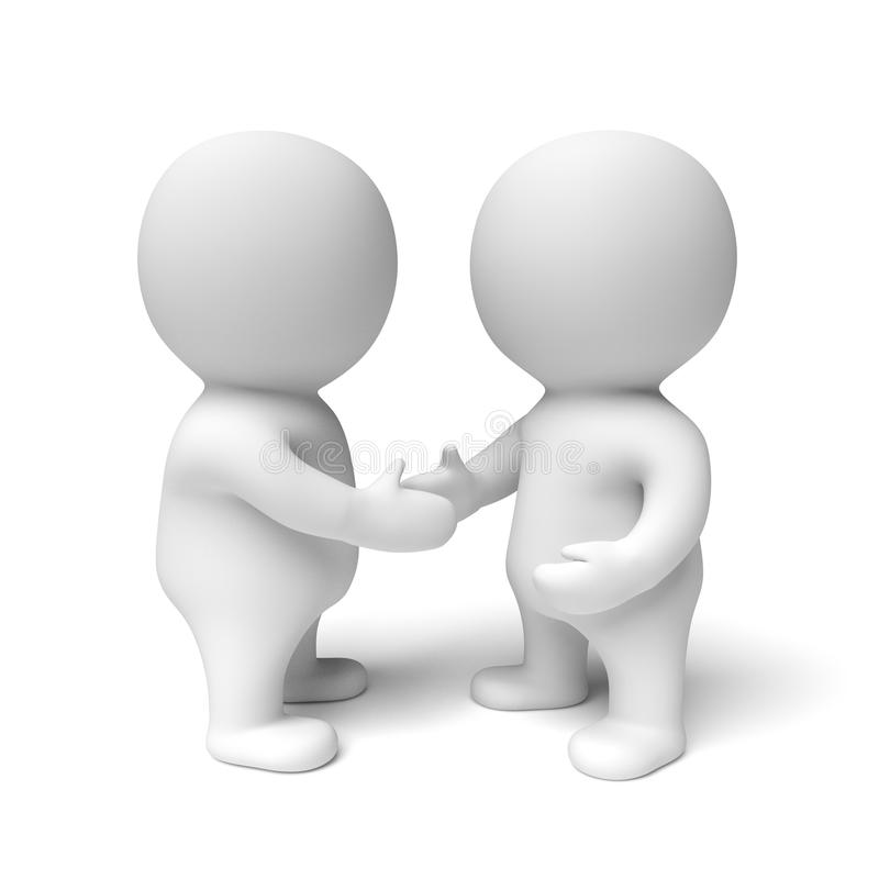 Two human white 3d people shaking hands. 3D illustration of 2 characters shaking hands - on a white background vector illustration