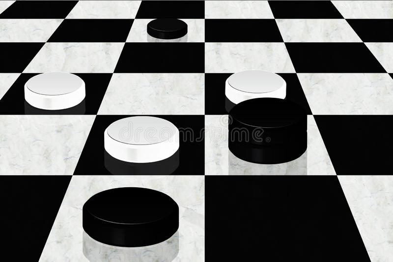 3D illustration with checkerboard and checkers vector illustration
