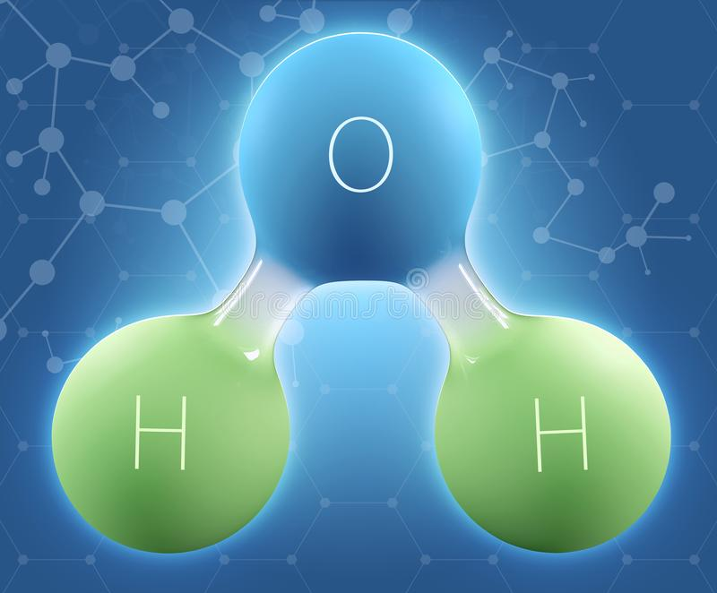 3d Illustration of Chemical formula H2O water royalty free stock images