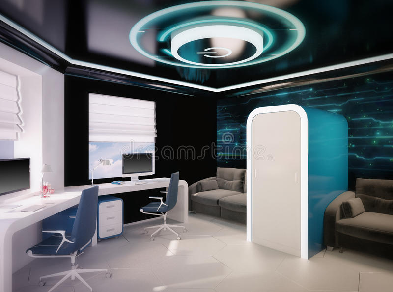 3d illustration of children's outer space theme. 3d render of children's outer space theme stock illustration