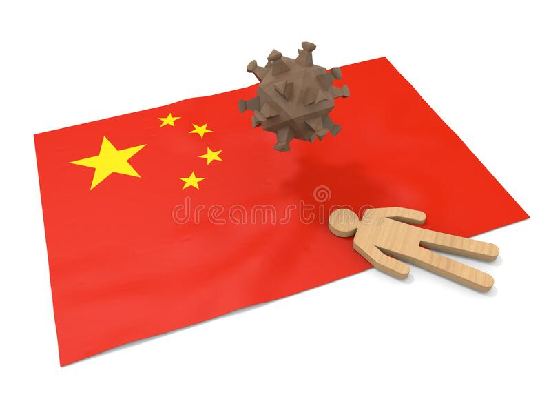 3D illustration. China flag. People die from illness. Infect the virus. vector illustration