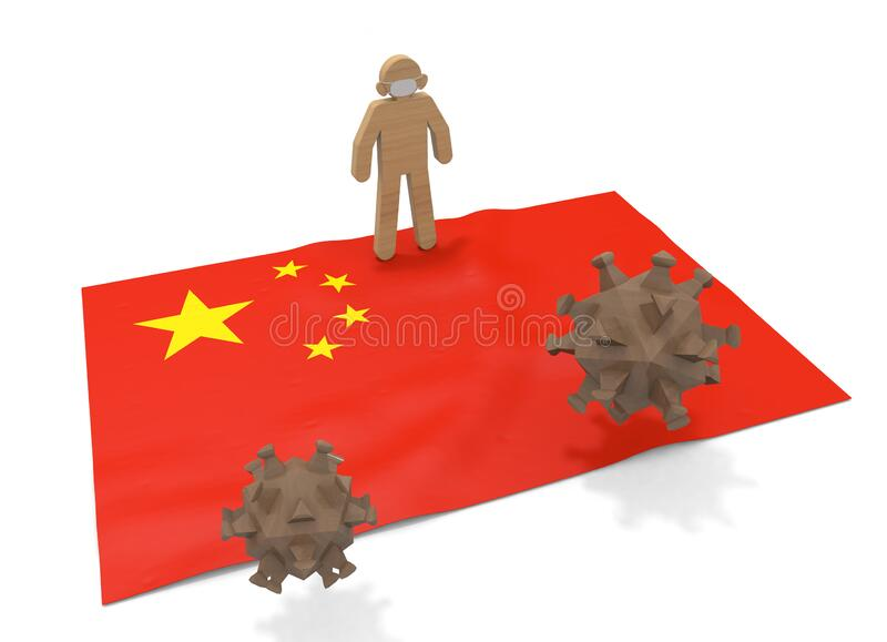 3D illustration. China flag. Protect yourself from pathogens. Infectious virus is epidemic. stock illustration