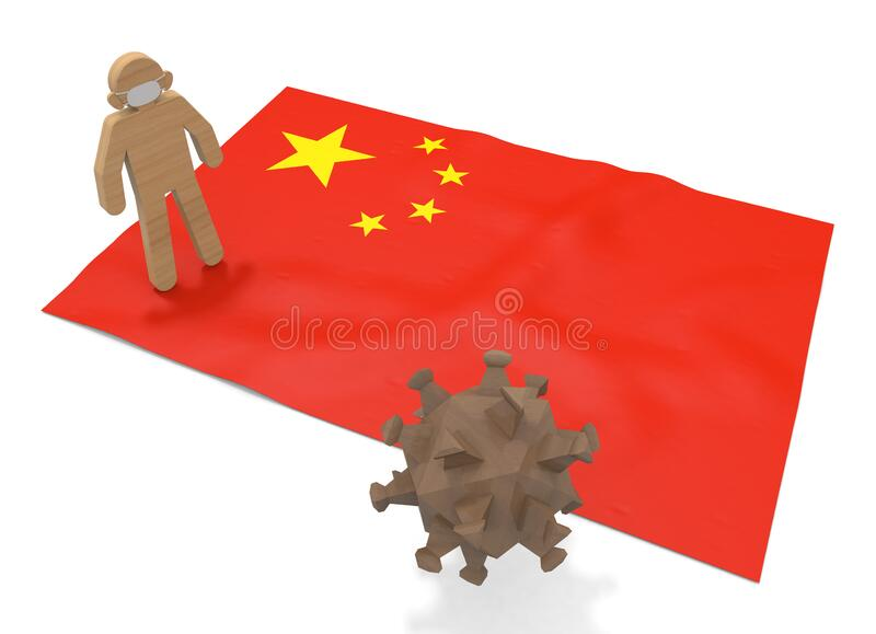3D illustration. China flag. Virus forces expand. Prevent disease. stock illustration