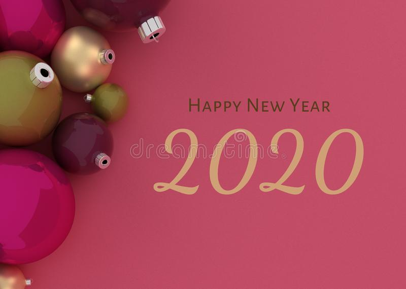 Christmas balls Happy new year 2020 in purple vector illustration