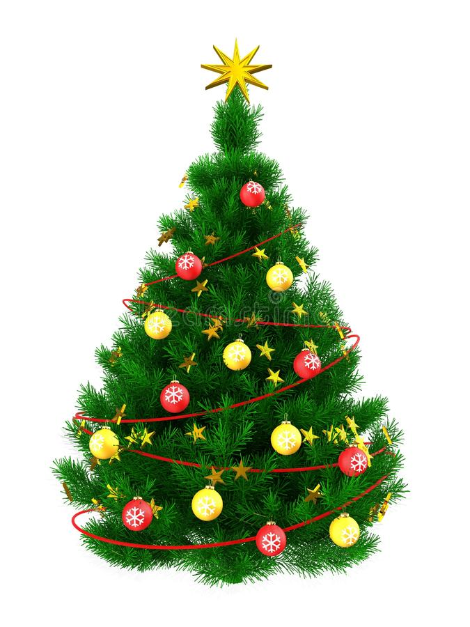 3d Christmas tree stock illustration
