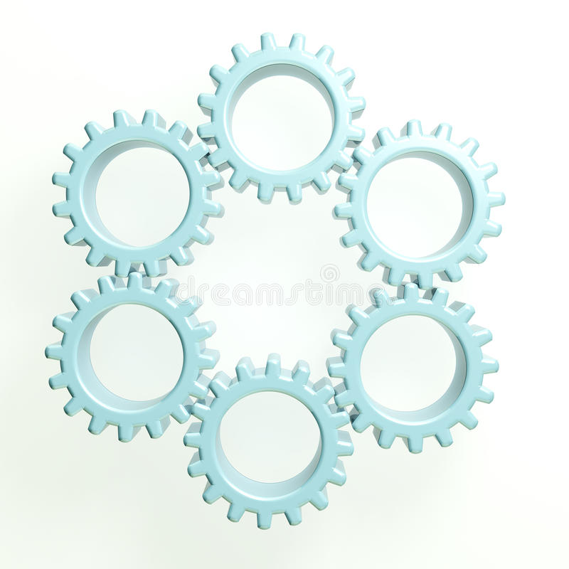 3D illustration circle of gears royalty free stock image