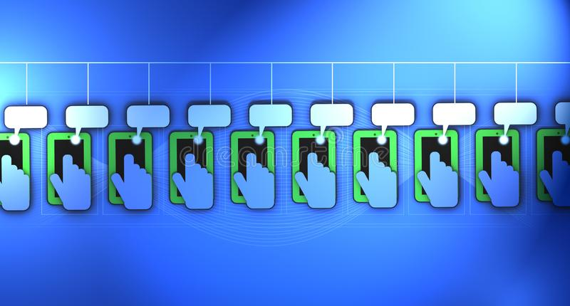 A 3D Illustration of a circular array of mobile phones with hands and fingers texting stock illustration