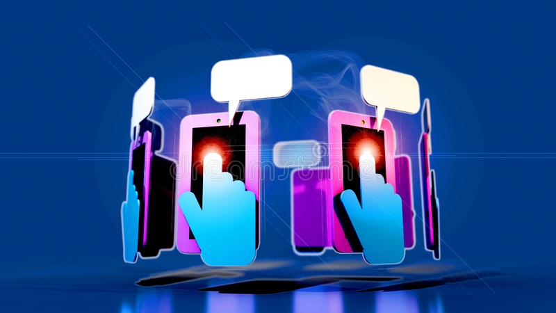A 3D Illustration of a circular array of mobile phones with hands and fingers texting vector illustration