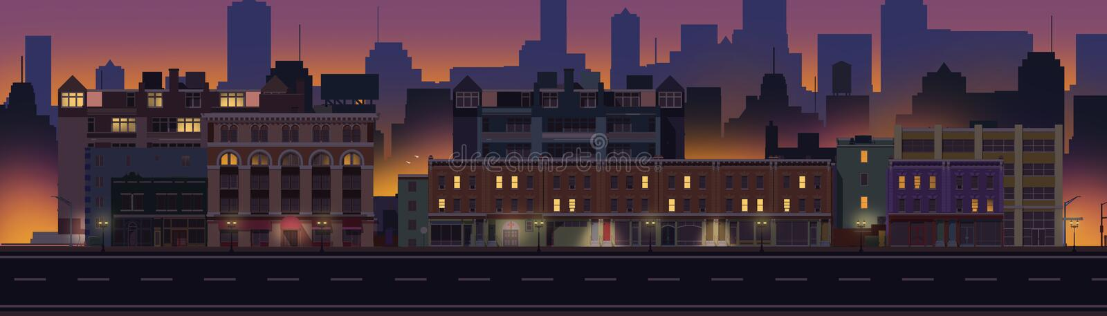 2D Illustrated City Block at Night. A 2d illustration of a city block at time. We see various stores and buildings, the streets are illuminated with lights. The stock illustration