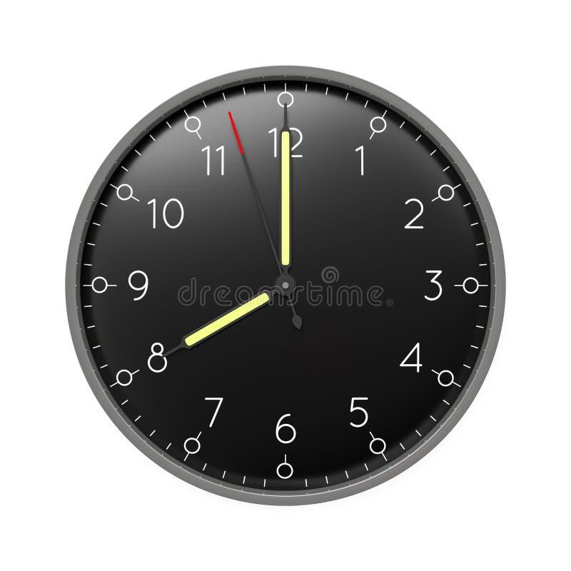 a clock shows 8 o 'clock vector illustration