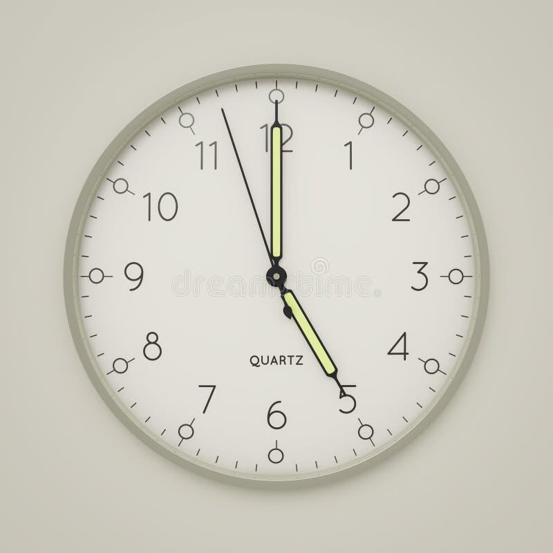 a clock shows 5 o 'clock vector illustration