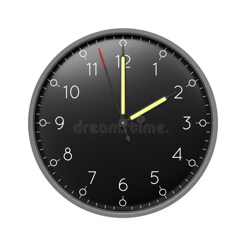 a clock shows 2 o 'clock stock illustration