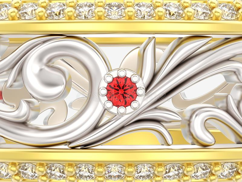 3D illustration close up gold and silver ring with curve out ornament and red ruby. On a grey background vector illustration