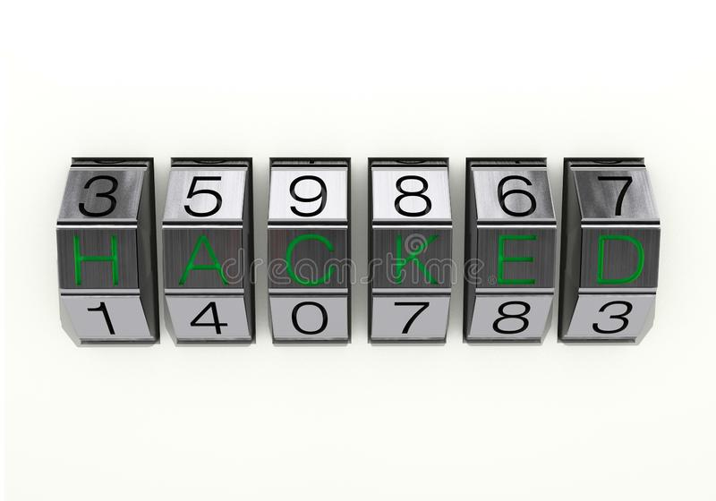 3d illustration: Close view of metal 6-digit combination lock with black numbers and green text `hacked`, isolated on white backgr stock photography