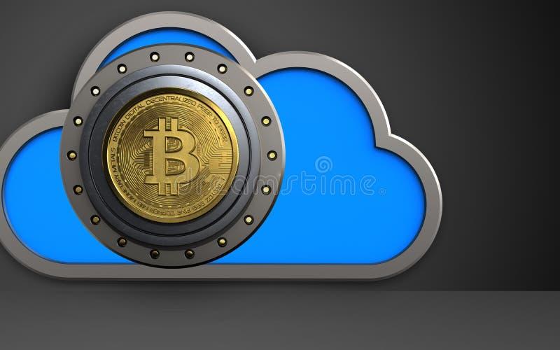 3d cloud bitcoin safe stock illustration