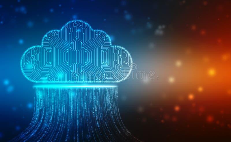 2d illustration of Cloud computing, Cloud computing and Big data concept royalty free illustration