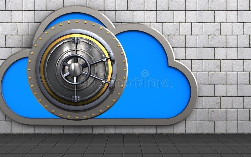 3d cloud safe stock illustration