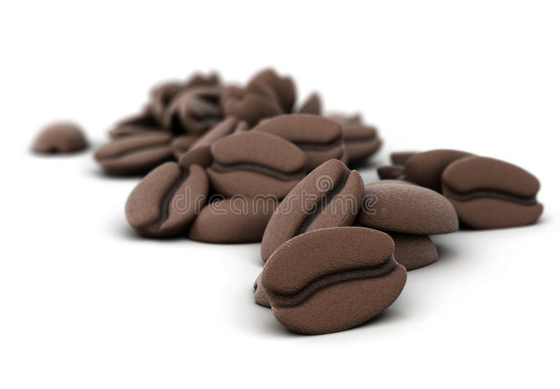 3D illustration of coffee beans. Close-up on a white background stock illustration