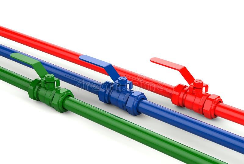 3d illustration of color ball valves. 3d illustration of the color ball valves on white background royalty free illustration