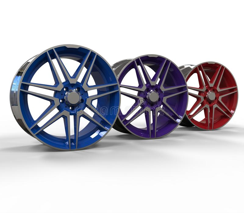 3d illustration color car rims. 3d illustration of color car rims on white background royalty free illustration