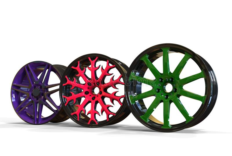 3d illustration color car rims. 3d illustration of color car rims on white background stock illustration