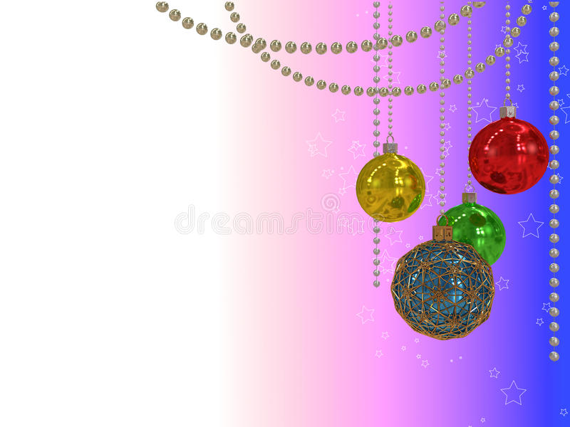 3d illustration of Colorful Christmas balls hanging on the round beads royalty free stock image