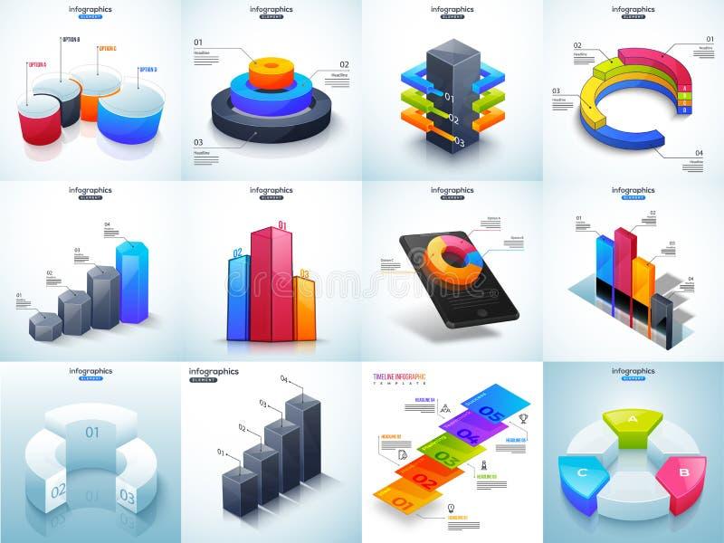 3D illustration of colorful Timeline Infographic set for Business growth statistics. stock illustration