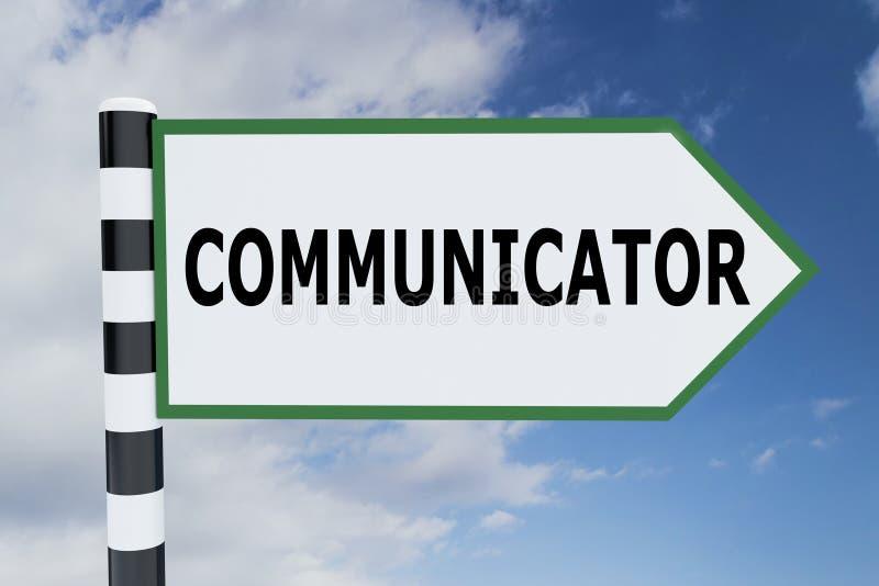 COMMUNICATOR - communication concept. 3D illustration of COMMUNICATOR script on road sign vector illustration