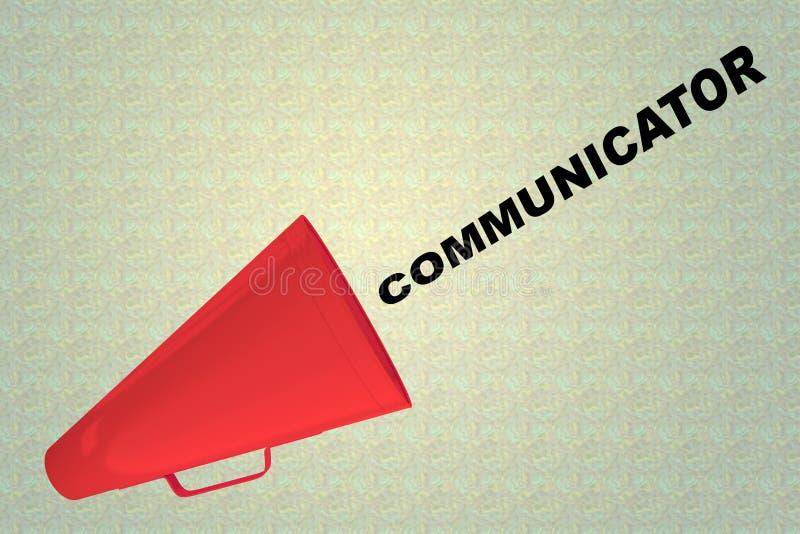 COMMUNICATOR - communication concept. 3D illustration of COMMUNICATOR title flowing from a loudspeaker stock illustration