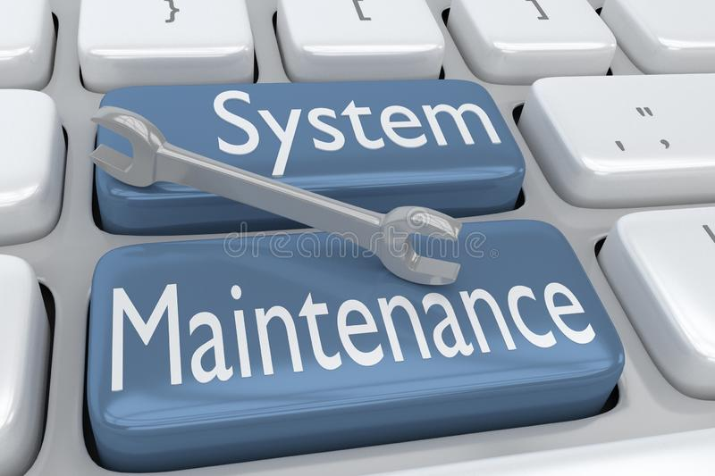 3D illustration of computer keyboard with the script System Maintenance on two adjacent pale blue buttons, with a wrench placed on royalty free illustration