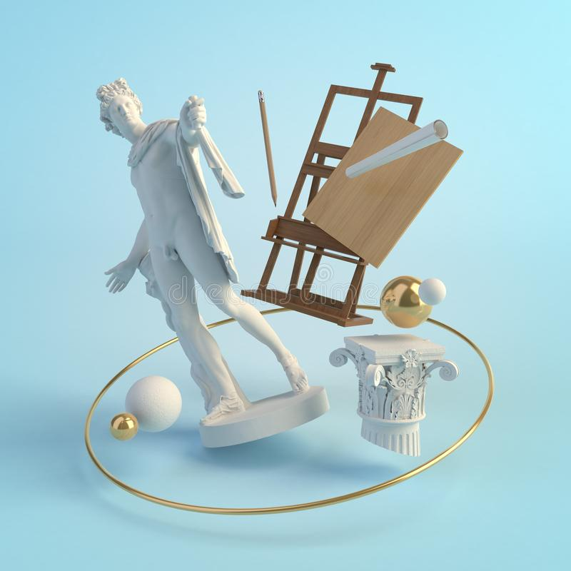 3d illustration concept of the ancient art, statue of Apollo Belvedere, column, easel, creative royalty free illustration
