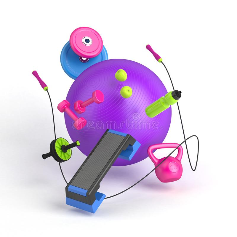 3d-illustration of the fitness equipment: fitball, weight, dumbbells, water bottle, jump rope, apples, step platform royalty free stock image