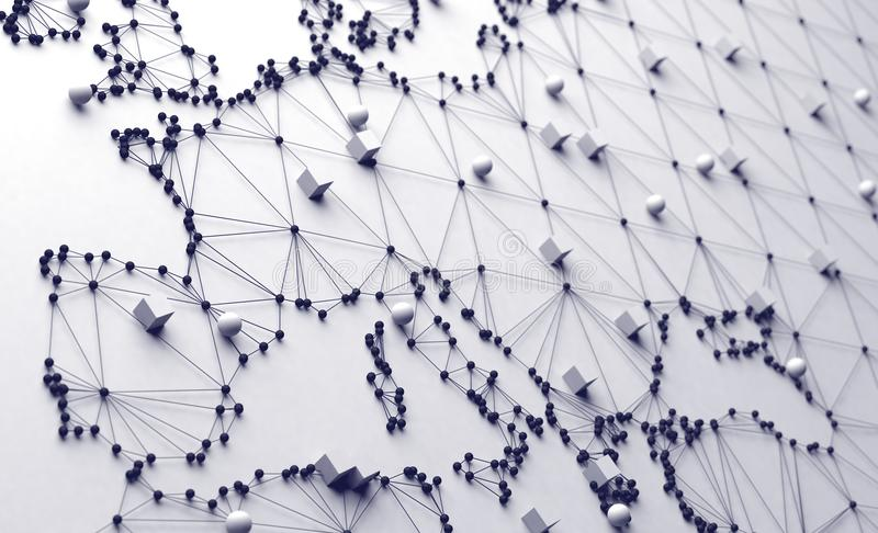 World map and networking. 3d illustration and concept of international logistics of agreements and international business. Networks and companies around the royalty free illustration