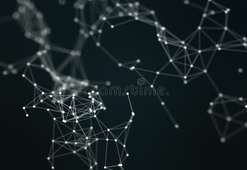 3d illustration, concept of technology. Lines and dots royalty free stock image