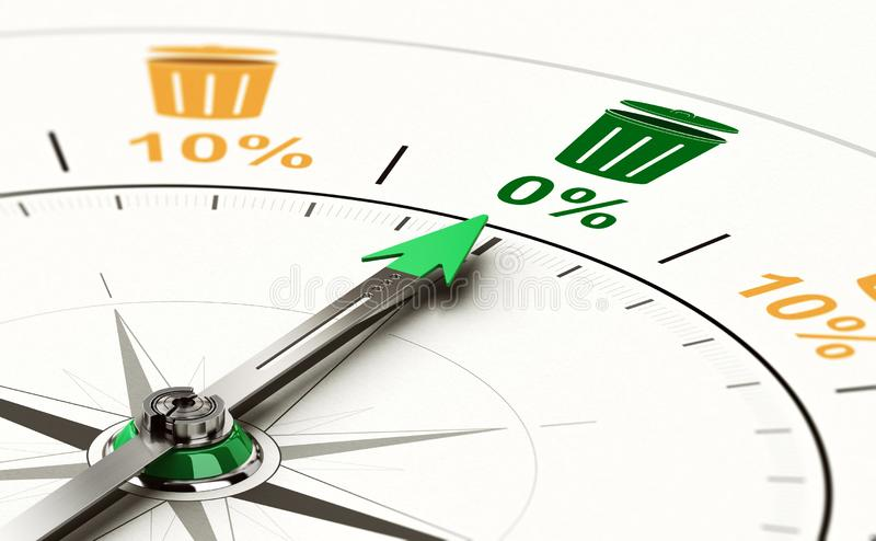 Zero Waste Objective. 3D illustration of a conceptual compass with needle pointing a zero percent waste objective vector illustration