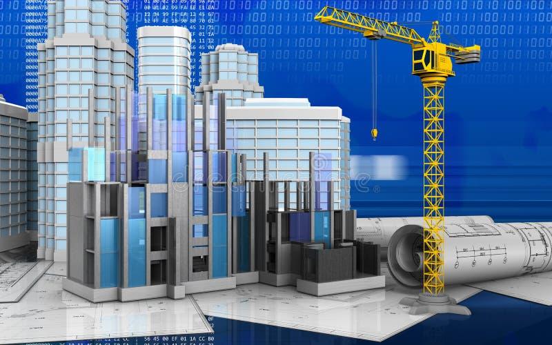 3d of construction progress vector illustration