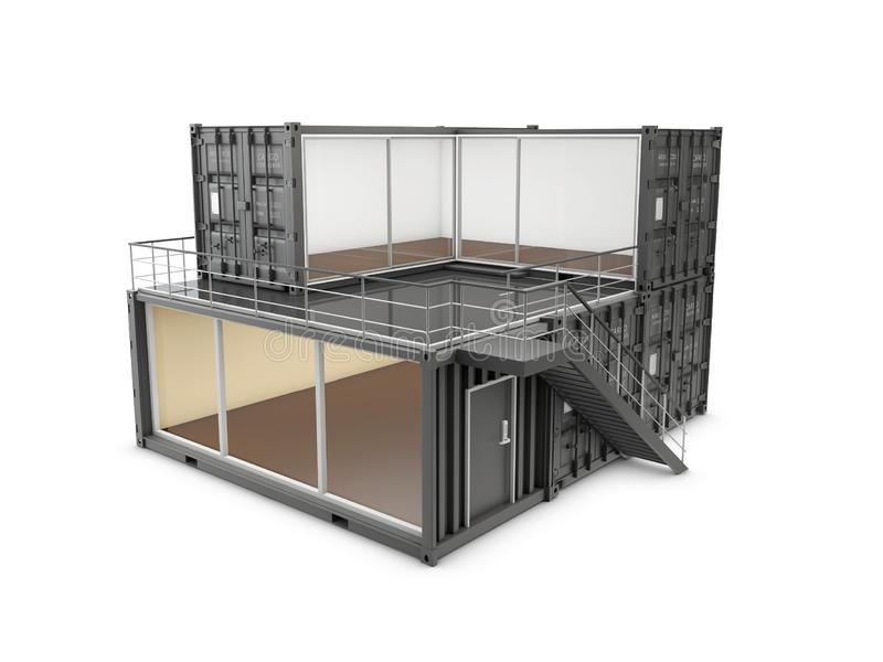 3d Illustration of Converted old shipping container into office, isolated gray.  royalty free illustration