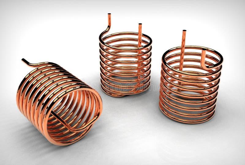3d illustration of copper pipe coils. On white background vector illustration