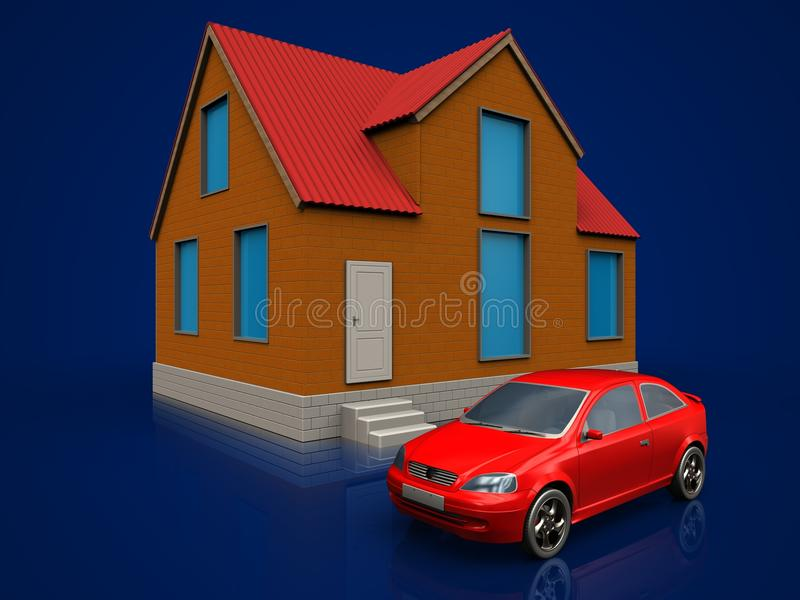 3d car over dark blue vector illustration