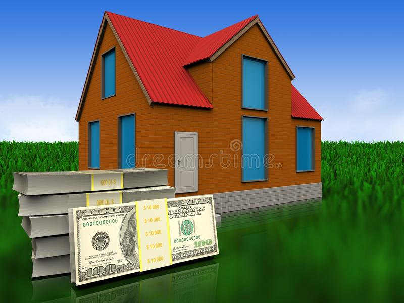 3d dollars over meadow stock illustration