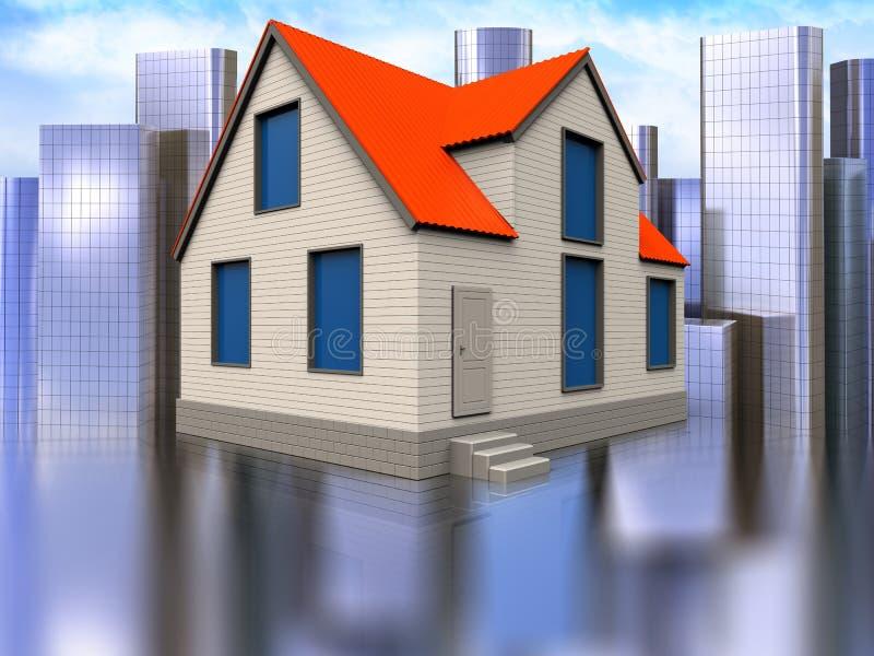 3d blank over city. 3d illustration of cottage house over city background stock illustration