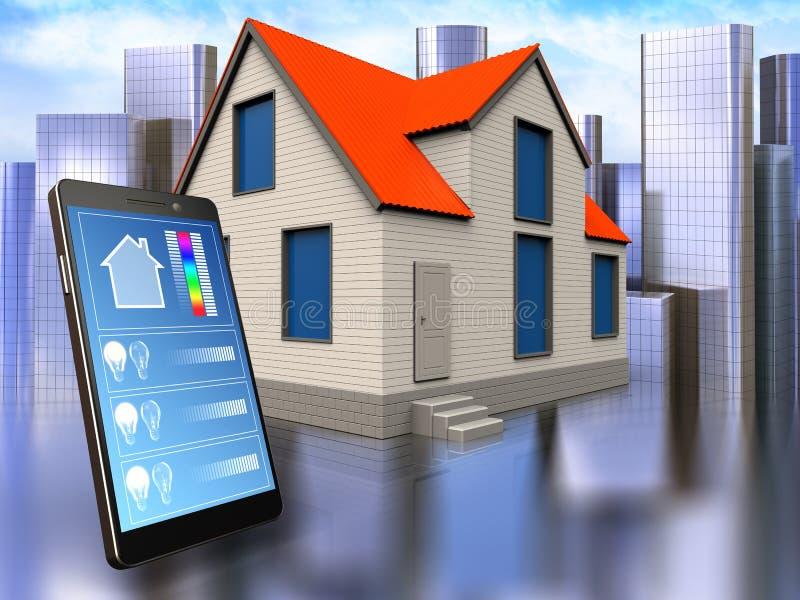 3d phone application over city. 3d illustration of cottage house with phone application over city background vector illustration