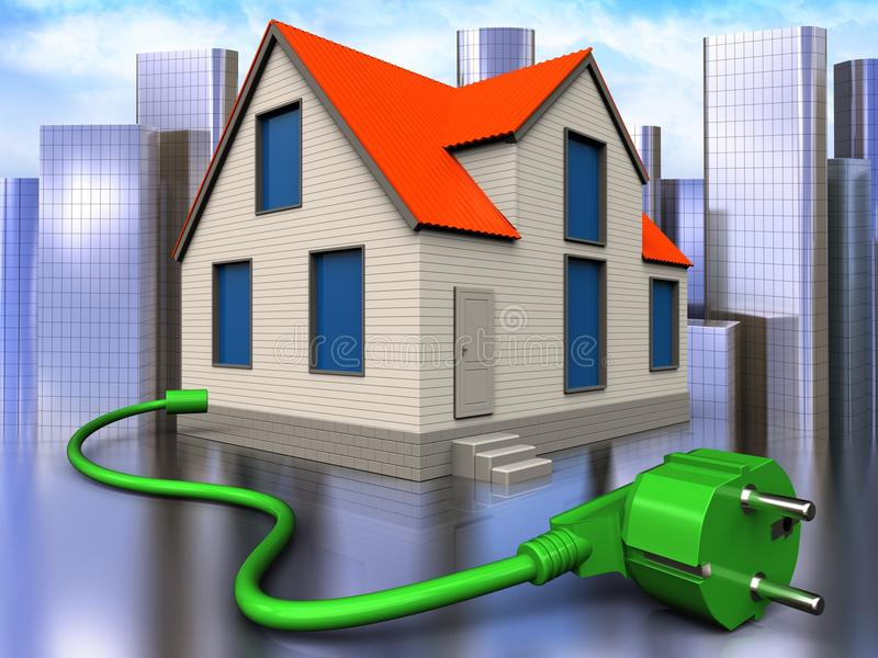 3d power cord over city. 3d illustration of cottage house with power cord over city background stock illustration